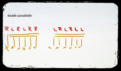 Snare drum fundamental rudiments: double paradiddle